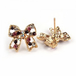 Suppion Colorful Rhinestone Bowknot Ear Stud Earrings Women Lady Party Gift