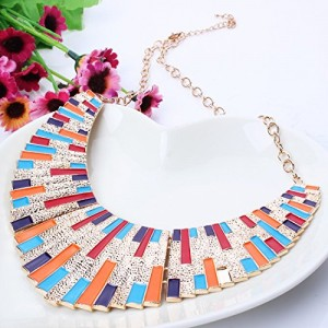 Fashion Bling New Oil Drip Chunky Bib Statement 18K Gold Chains Collar Necklace