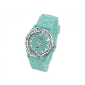 GENEVA Crystal Bezel Large Face Silicone Jelly Sport Teen Women`s Watch - Aqua Best Gift for Valentine Birthday Christmas Thanksgiving