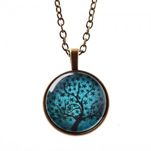 Mothers day gifts Art Tree Glass Cabochon Necklace Tree of Life Pendant Bronze Chain Necklace