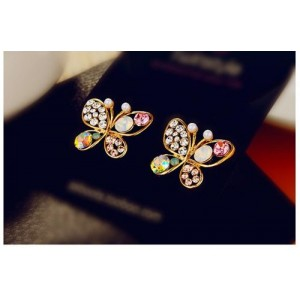Fashion Multicolour Rhinestone Butterfly Retro Ear Studs Earrings 1 Pair