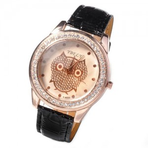 Ladies Owl Rose Gold Diamante Crystal Bling Quartz Watch Pu Leather Wrist Watch