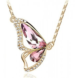 Gold Tone & Rhodium Plated Crystals Pendant Necklace (Butterfly-Gold&Pink)