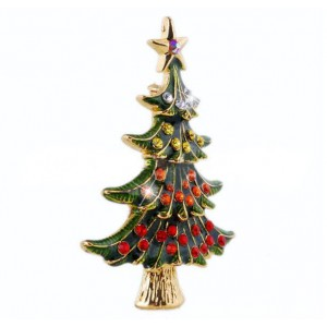 Oyang Vintage Ally Oil Drop Christmas Tree Brooch Pin