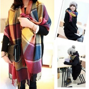 Women Winter Warm Colorful Plaid Pashm Knitting Wool Tassels Scarves Wraps Shawl