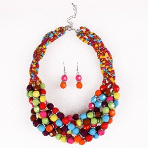 Twist Torsade Layers Colorful Ball Beaded Bib Choker Collar Necklace Earrings