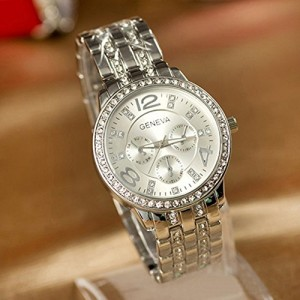 Geneva Luxury Silver Classic Round Crystal Ladies Watch