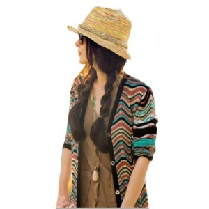 Fashion Bohemian Rainbow Striped Beach Sun Straw Hat Cap Beige