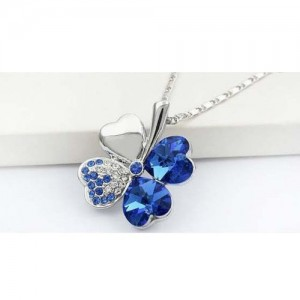 Sweet Crystal Rhinestone Four Leaf Clover Pendant Necklace