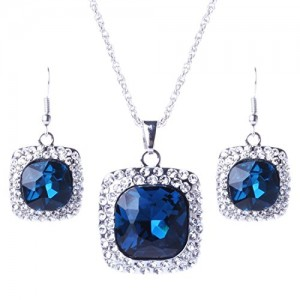 Quality Round Gemstone Crystal Pendant Long Silver Chain Necklace Earrings Set