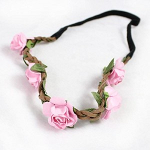Women Boho Flower Hairband Party Wedding Headbands Pink