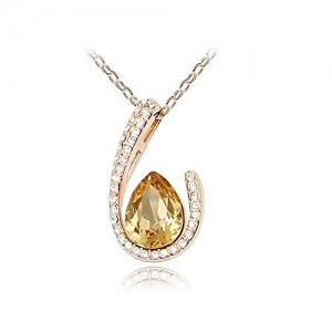 Gold Tone & Rhodium Plated Crystals Pendant Necklace (WaterDrop-Gold&Champagne)