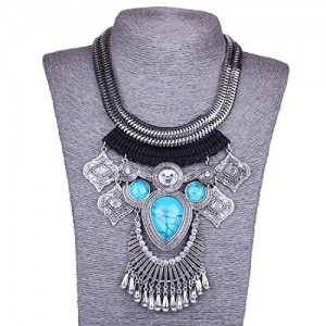 Chunky Women's Tibet Silver Chandelier Agate Turquoise Stone Bib Collar Necklace