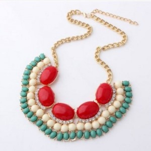 Popular Lovely Gothic Vintage Lady Bubble Fringe Bib Party Statement Necklace