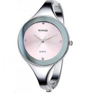 New Arrival ~ Elegant Bangle Bracelet Wrist Watch with Thin Alloy Strap for Girl Woman Lady - Pink