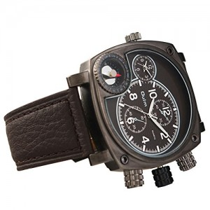 OYang Military Square Multi TimeZones 2 Dials Leather Analog Sports Wrist Watch HP9526 Brown Band Black Face