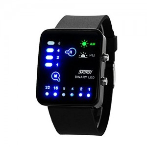 SKMEI Fashion Binary Digital LED Waterproof Boys Girls Sport Casual Wrist Watches (Black)