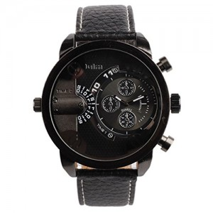 OYang Two Time Zone Display Quartz Movement Wrist Watch With Small Dials For Decoration Purpose Only (Black)