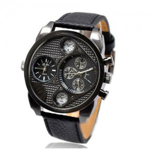 New in Box Oulm Military Genuine Black Leather 2 Timer Oversize Men's Watch Cool