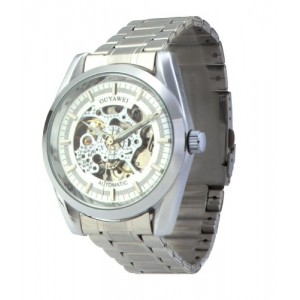 Men's White Dial Silver Bezel Silver Band Water-proof Mechanical Watches