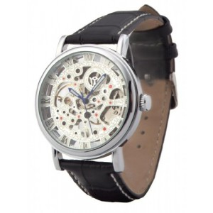 Ouyawei Unique Men's Round Hollow White Dial Silver Shell Black Leather Band Mechanical Skeleton Watches