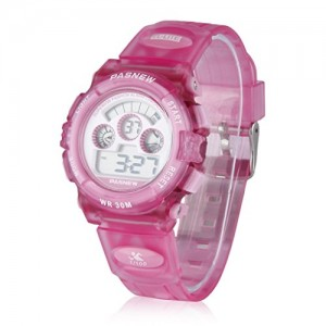 Cute PASNEW Waterproof Led Digital Sport Watch for Boys Girls Kids Childrens (Pink)