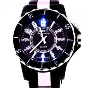 Ohsen A056 Water Resist Men Women Quartz Sports Wrist Watch 7 Colour LED Light Watch - Black (58041)