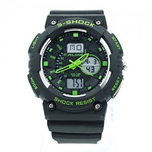 ALIKE Double Water Shock Resistant Analog Sports Wrist Watch Backlight - Green