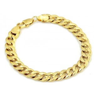 "18k Yellow Gold Filled Bracelets for Men 9mm 8.1"" Curb Chain"