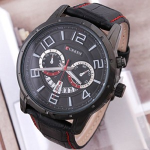 HOT SALE !!! Curren Black Dial Quartz Calendar Vogue Business Man Men's Watch