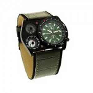 Oulm Men's Quartz Watch Military Army and Sport Style Leather Strap Color Green