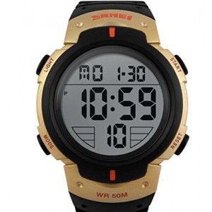 OYang Popular Men's Fashion Electronic Waterproof Outdoor Sports Wrist Watch Gold Orange