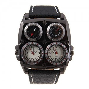 Oulm Men's Large Watch. Dual Time Zones w/Compass/Thermometer-Big 5cm Multi-Function Dial-Black