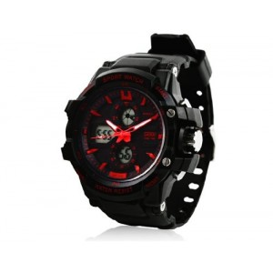 OnceAll Skmei 0990 3ATM Water Resistant Digital & Analog Sports Watch with Soft Plastic Strap (Black + Red) M.