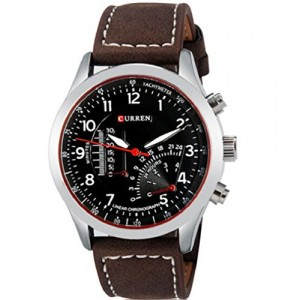 CURREN 5623 Men's Boy Quartz Analog Watch with Faux Leather Strap
