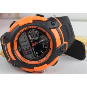 OUANGANC Water-proof Digital-analog Boys Girls Sport Digital Watch Alarm Stopwatch Chronograph (Orange)