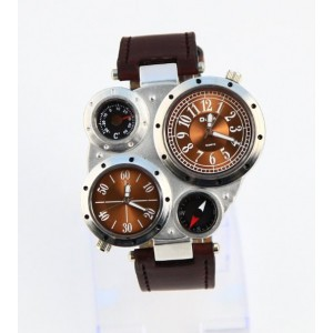 Oulm Fashion Metal Dial Watch with Dual Quartz Movement/Compass/Thermometer Brown dial