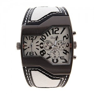 QULM Top Brand White PU Leather Band Cool Special Dial Dual Movt Cool Gift Wristwatch Watch for Men Adult Husband