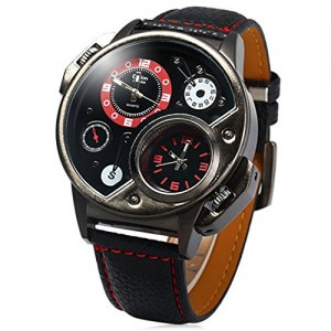 OYang Military Sport Quartz Watch Leather strap Round Dial Famous brand luxury Clock Men's Wristwatch (Red)