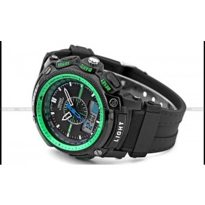OHSEN LCD Dual Core Mens Women Sport Date Day Green Stopwatch Black Rubber Watch Gift