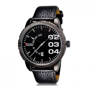 New ArRival ~ CURREN 5563 Stylish Analog Watch with Calendar & (Black) Faux Leather Strap for Men Male Gentleman