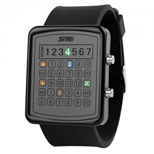 SKMEI Unisex Digit Display Colorful LED Wrist Watch - Black