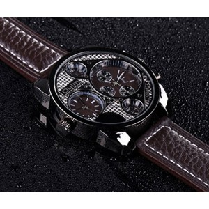 OYang Men's Military Oversize Multi TimeZones 2 Dials Leather Analog Sports Wrist Watch HP9316 Brown Band Brown Face
