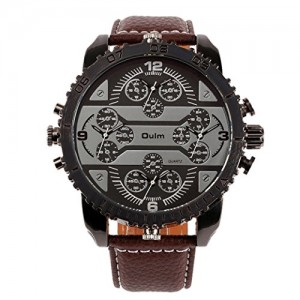 Oulm 3233 Male Quartz Watch with Four Movt Round Dial Leather Watch Strap - Brown