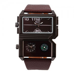 OYang Sports Dual Movt Watch Compasss Analog Wristwatch For Men (Brown)