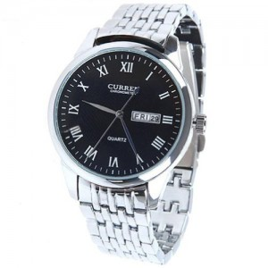 CURREN Black Case & White Band Watch with Day-and-date Calendar