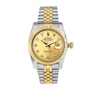 Sangdo Men's with Diamond Round Gold Stainless Steel Automatic Mechanical Watches
