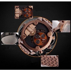 New Oulm Men's Two Time Zone Business Quartz Wrist Watch Coffee Color
