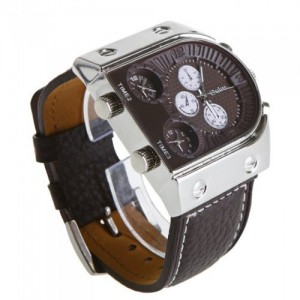 Wholesale Oulm Man's Fashion Watch with 3 Quartz Movement Dial Leather Band Brown by AHMET