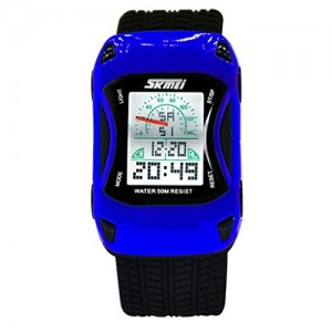OYang Kid's Racing Car Style Digital Waterproof Wrist Watch - Blue